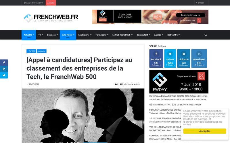 FrenchWeb.fr : Participez au classement des entreprises de la Tech, le FrenchWeb 500